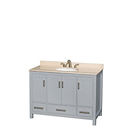 Wyndham Collection Sheffield 48-inch W 3-Drawer 4-Door Freestanding Vanity in Off-White With Marble Top in Beige Tan
