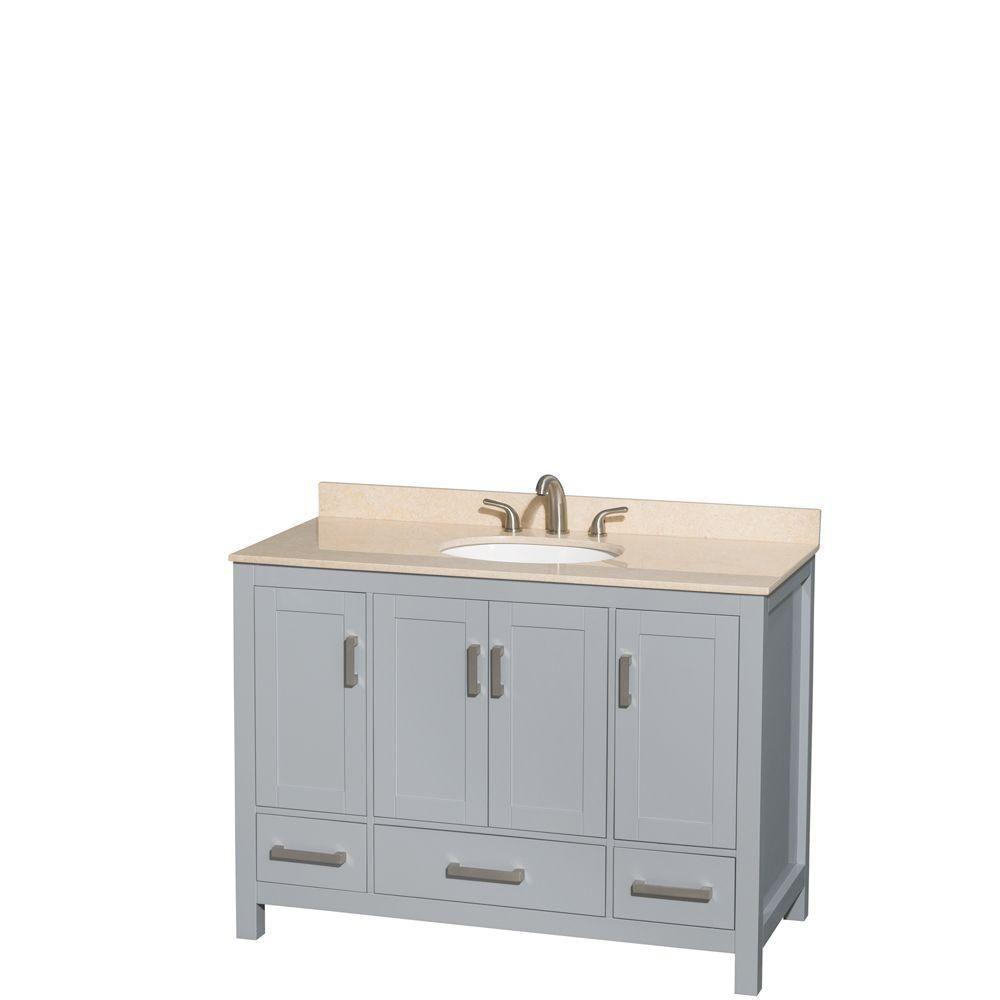 """Meuble s. bains simple Sheffield 48"""" gris, comptoir marbre ivoire, évier ovale, pas miroir"""