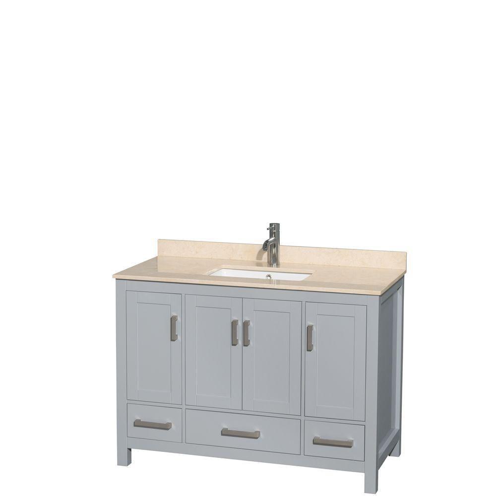 """Meuble s. bains simple Sheffield 48"""" gris, comptoir marbre ivoire, évier carré, pas miroir"""