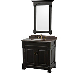 Wyndham Collection Andover 36-inch W 2-Door Freestanding Vanity in Black With Granite Top in Brown With Mirror