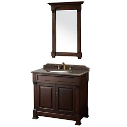 Wyndham Collection Andover 36-inch W 2-Door Freestanding Vanity in Brown With Granite Top in Brown With Mirror