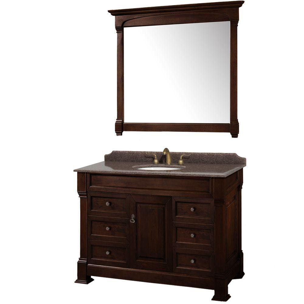 Wyndham Collection Andover 48-inch W 6-Drawer 1-Door Freestanding Vanity in Brown With Granite Top in Brown With Mirror