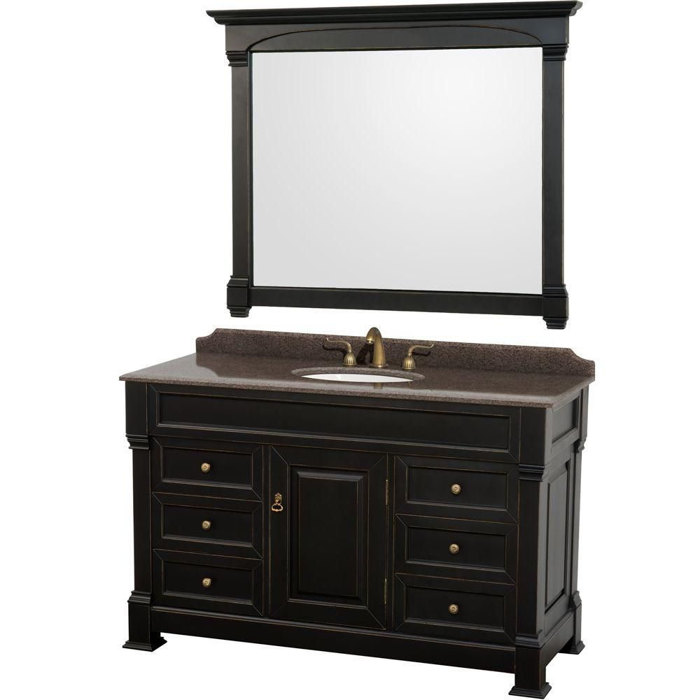 Wyndham Collection Andover 55-inch W 6-Drawer 1-Door Freestanding Vanity in Black With Granite Top in Brown With Mirror