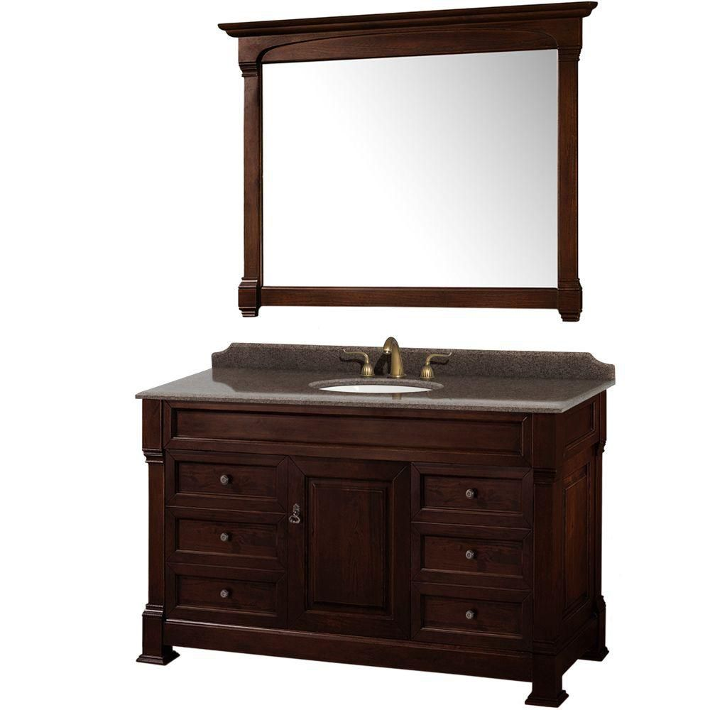 Andover 55-inch W Vanity in Dark Cherry with Granite Top, Oval Sink and 50-inch Mirror