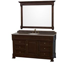 Wyndham Collection Andover 60-inch W 6-Drawer 1-Door Freestanding Vanity in Brown With Granite Top in Brown With Mirror
