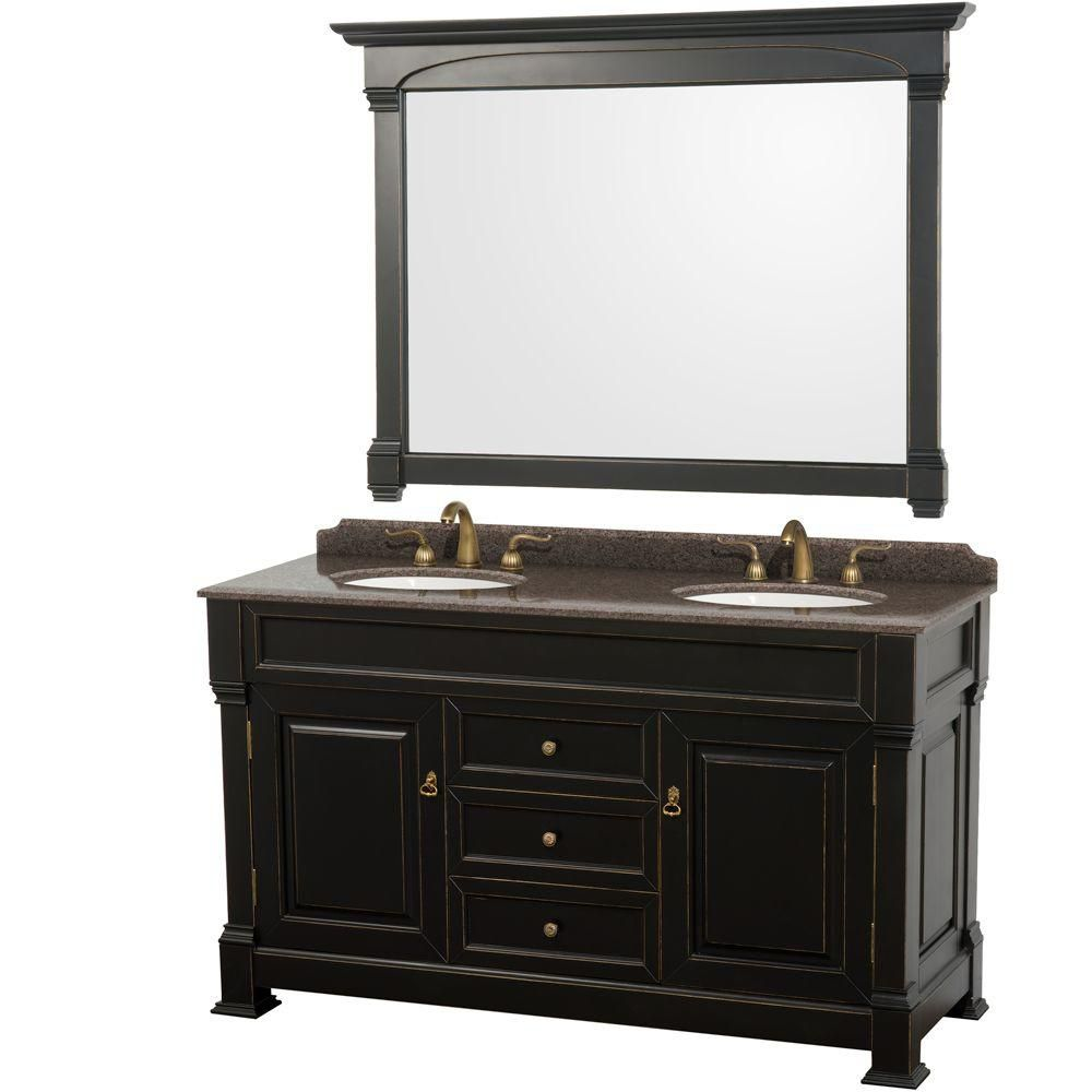 """Meuble s. bains dbl Andover 60"""" noir, compt granit brun impérial, éviers ovales encast, miroir 56..."""