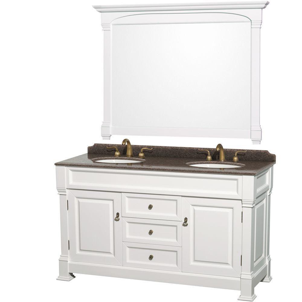"""Meuble s. bains dbl Andover 60"""" blanc, compt granit brun impérial, éviers ovales encast, miroir 5..."""