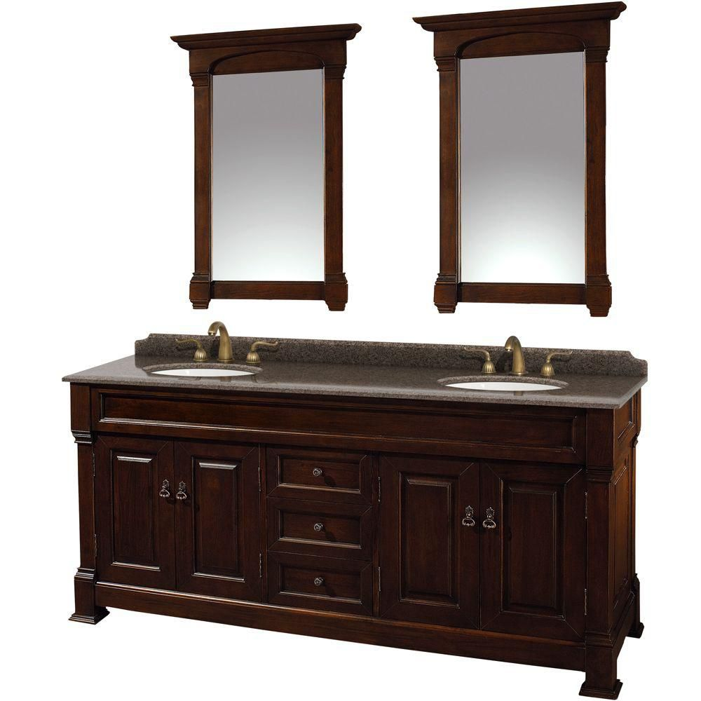 Andover 72-inch W Double Vanity in Dark Cherry with Granite Top, Oval Sinks and 28-inch Mirrors