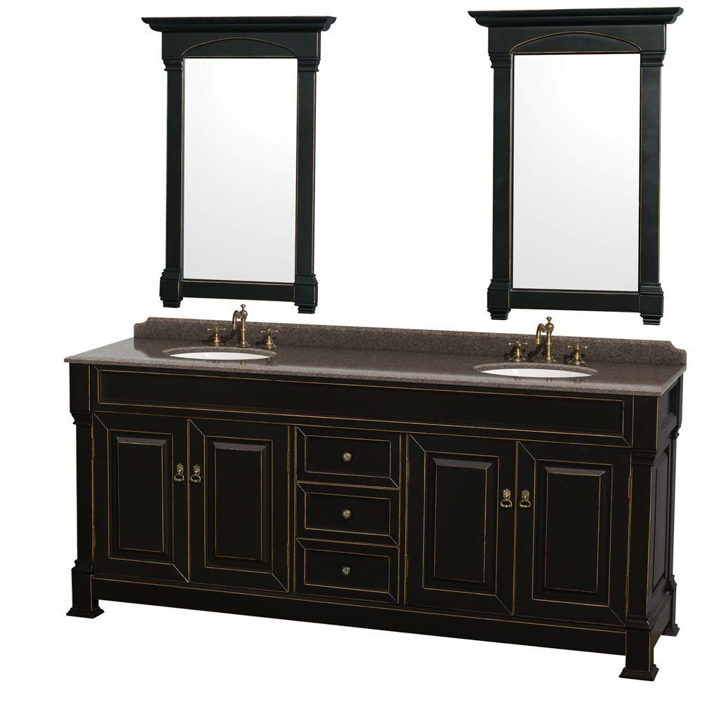 Wyndham Collection Andover 80-inch W 3-Drawer 4-Door Vanity in Black With Granite Top in Brown, 2 Basins With Mirror
