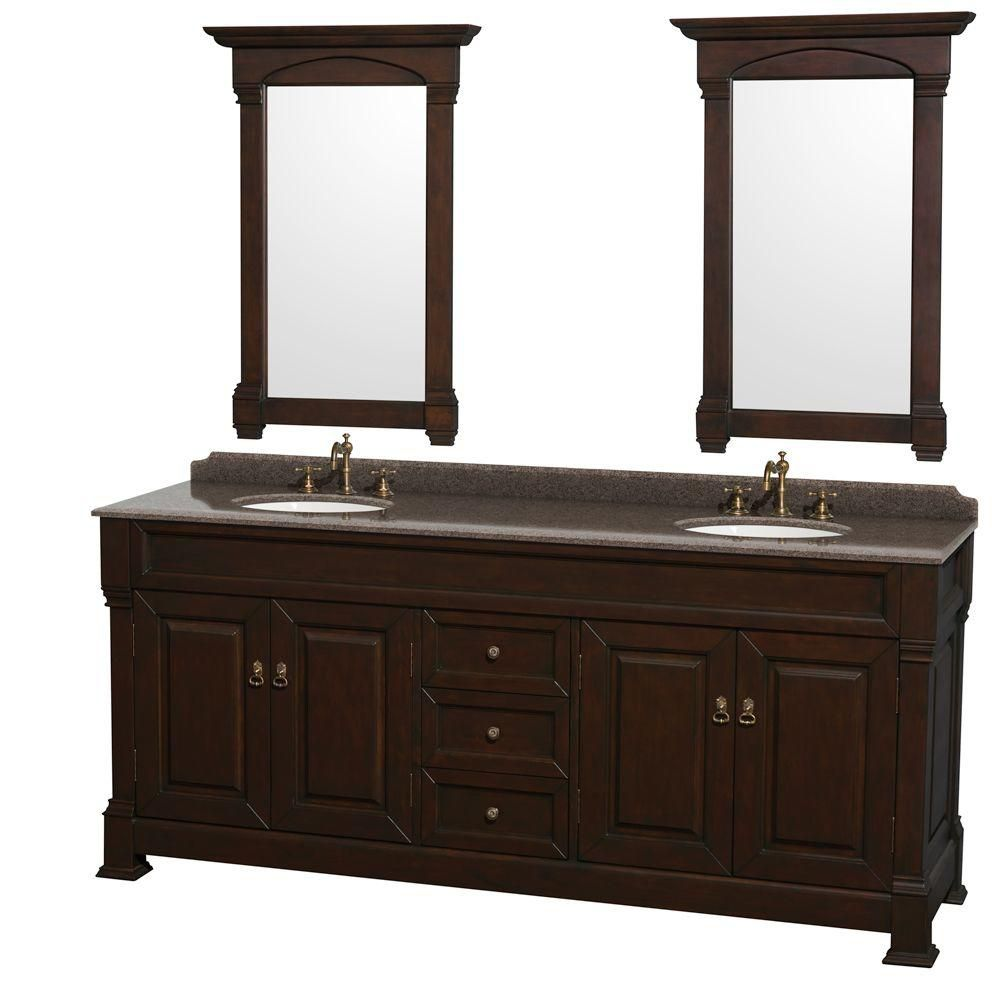 Andover 80-inch W Double Vanity in Dark Cherry with Granite Top, Oval Sinks and 28-inch Mirrors