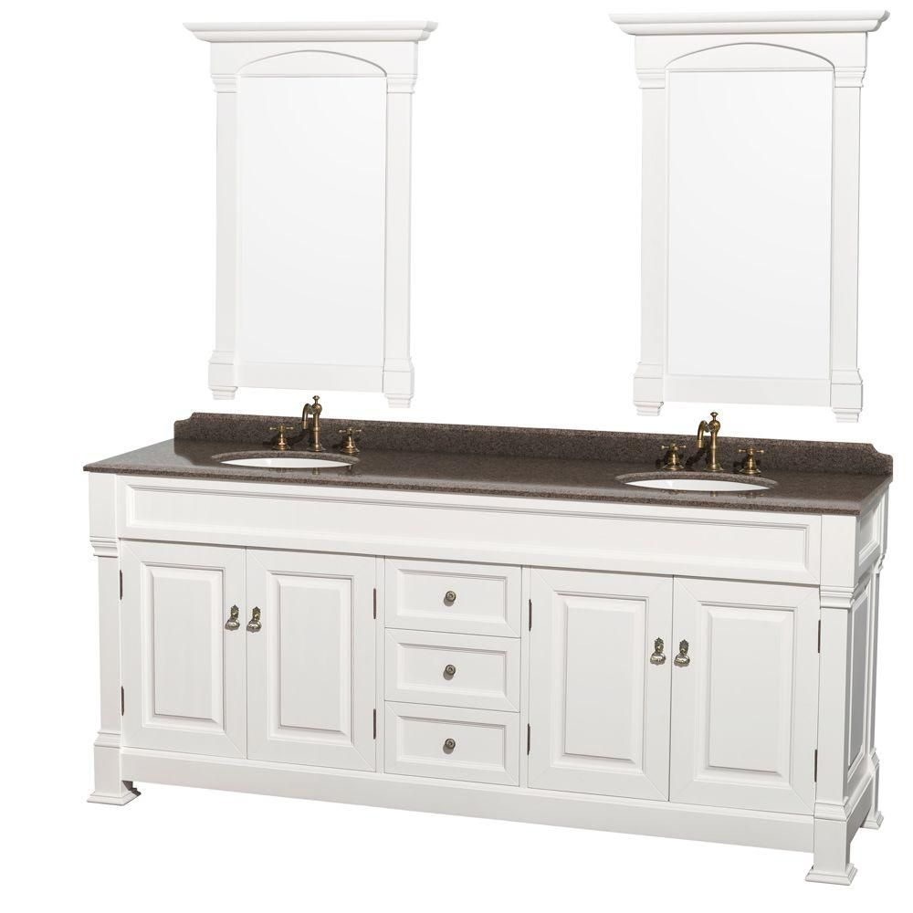 Andover 80-inch W Double Vanity in White with Granite Top, Oval Sinks and 28-inch Mirrors
