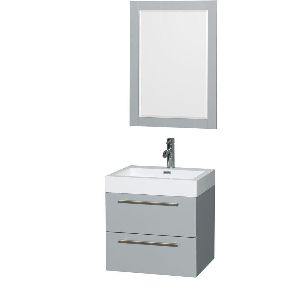 Wyndham Collection Amare 23-inch W 2-Drawer Wall Mounted Vanity in Grey With Acrylic Top in White With Mirror