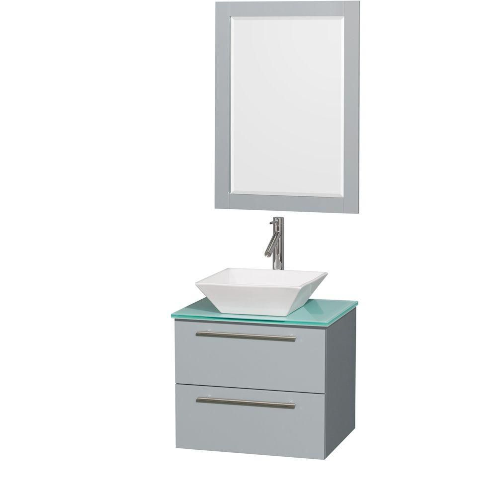 Amare 24-inch W Vanity in Dove Grey with White Porcelain Sink and 24-inch Mirror