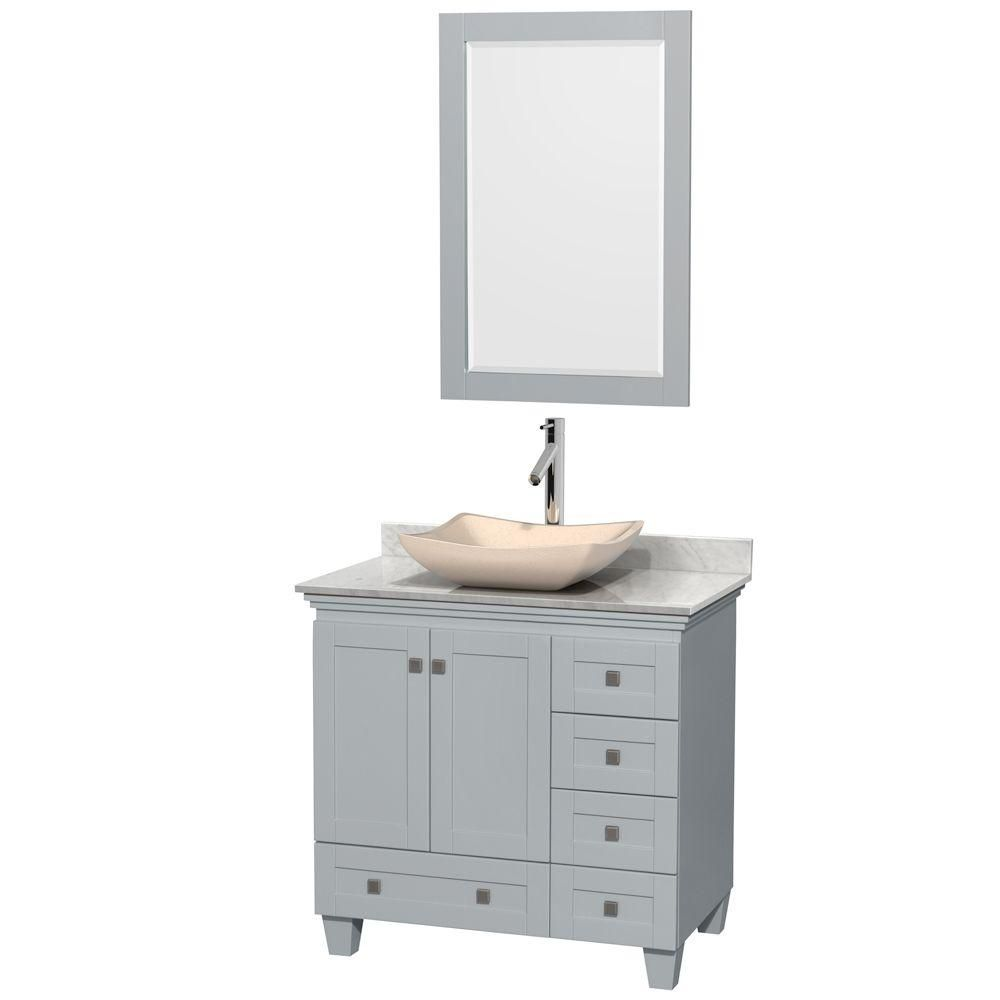 Acclaim 36-inch W Vanity in Oyster Grey with Carrara Top, Ivory Marble Sink and 24-inch Mirror