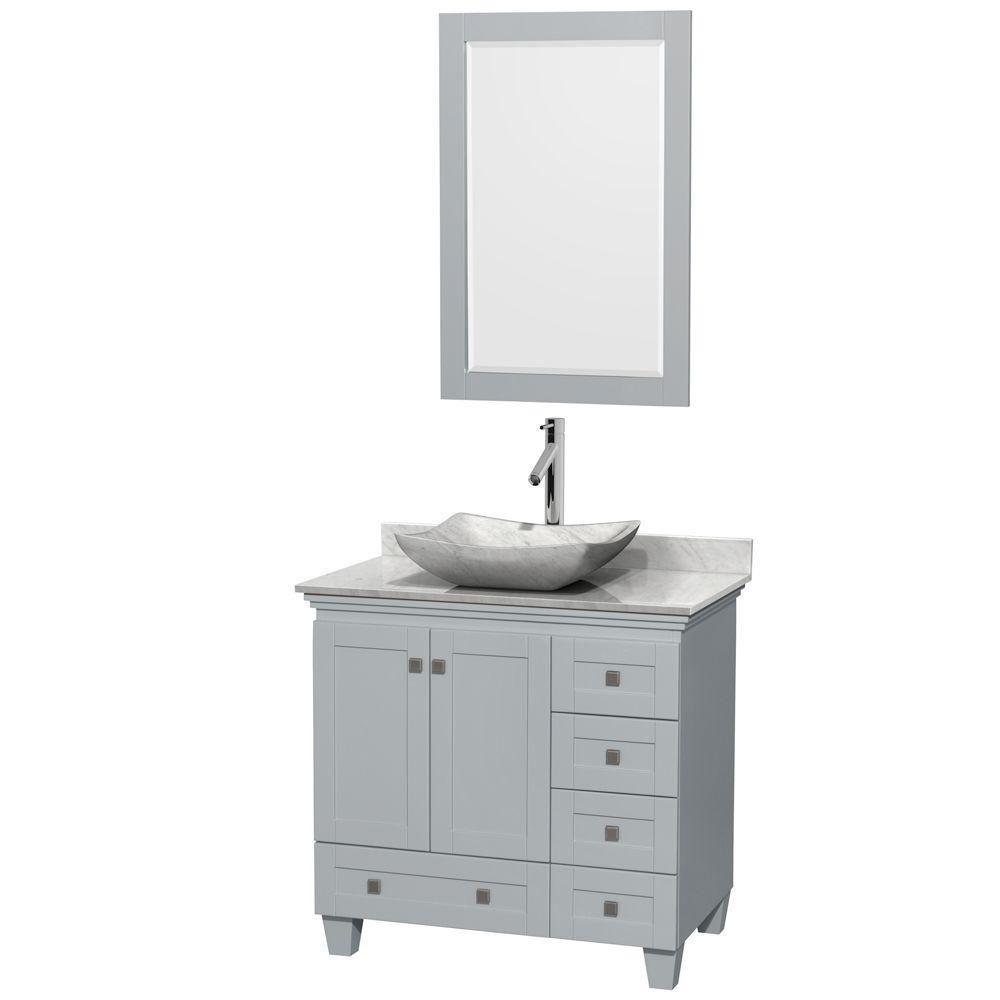 "Meuble s. bains simple Acclaim 36"" gris huître, comptoir marbre Carrera blanc, év. ovale, miroir ..."