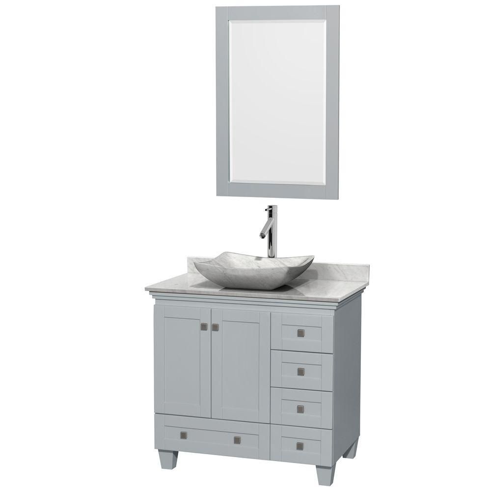 Wyndham Collection Acclaim 36-inch W 5-Drawer 2-Door Freestanding Vanity With Marble Top in White With Mirror