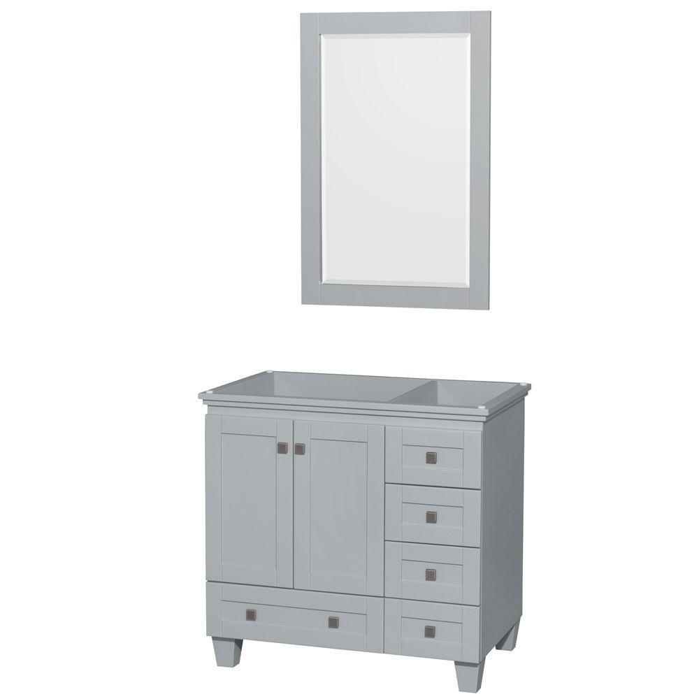 """Meuble de salle de bains simple Acclaim 36"""" gris huître, sans comptoir, sans évier, miroir 24"""""""
