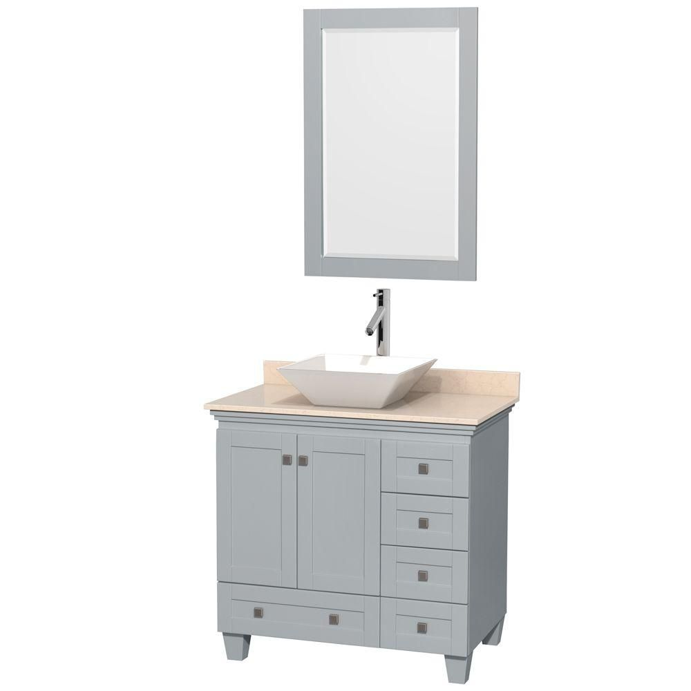 Acclaim 36-inch W Vanity in Oyster Grey with Marble Top, White Porcelain Sink and Mirror