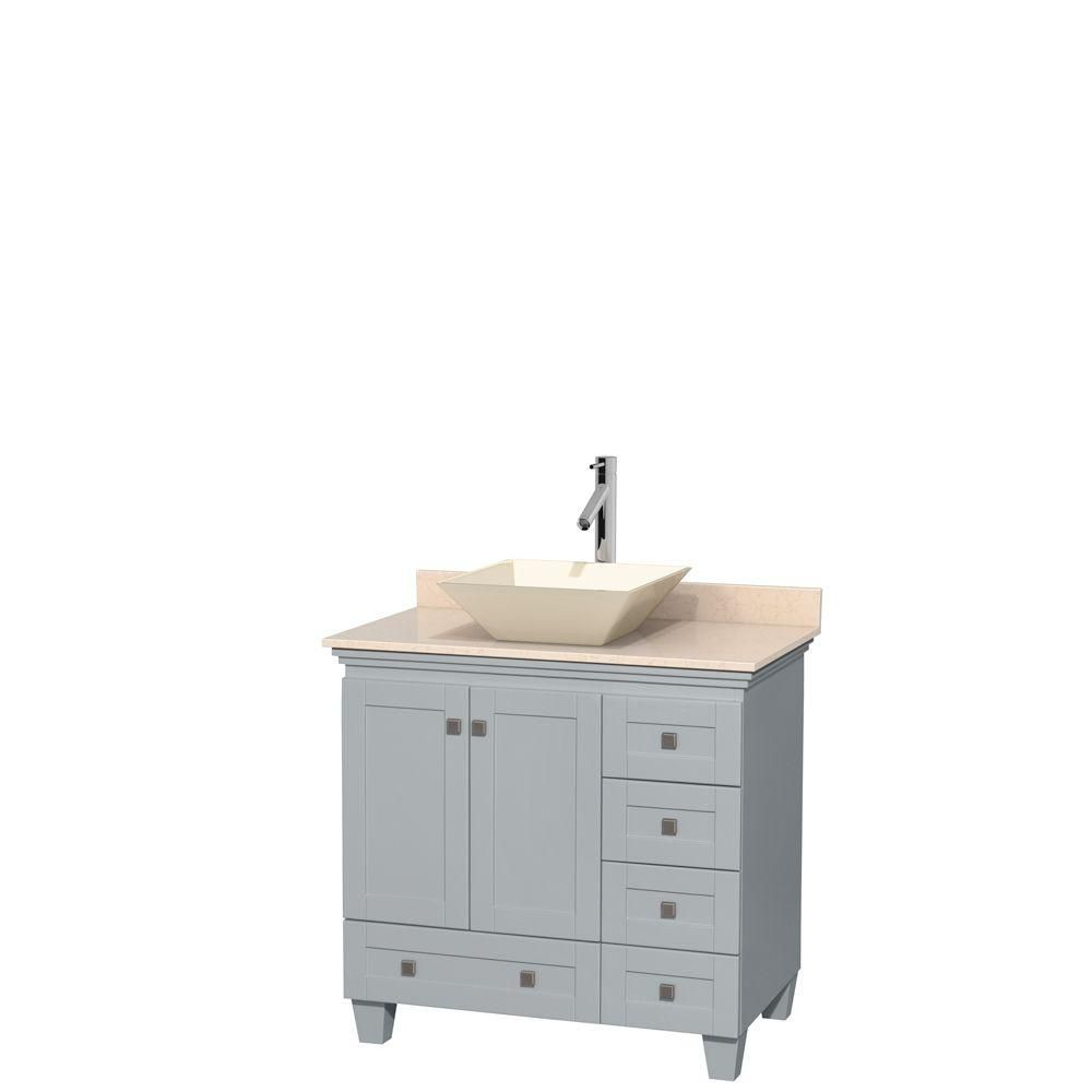 Acclaim 36-inch W Vanity in Oyster Grey with Marble Top and Bone Porcelain Sink