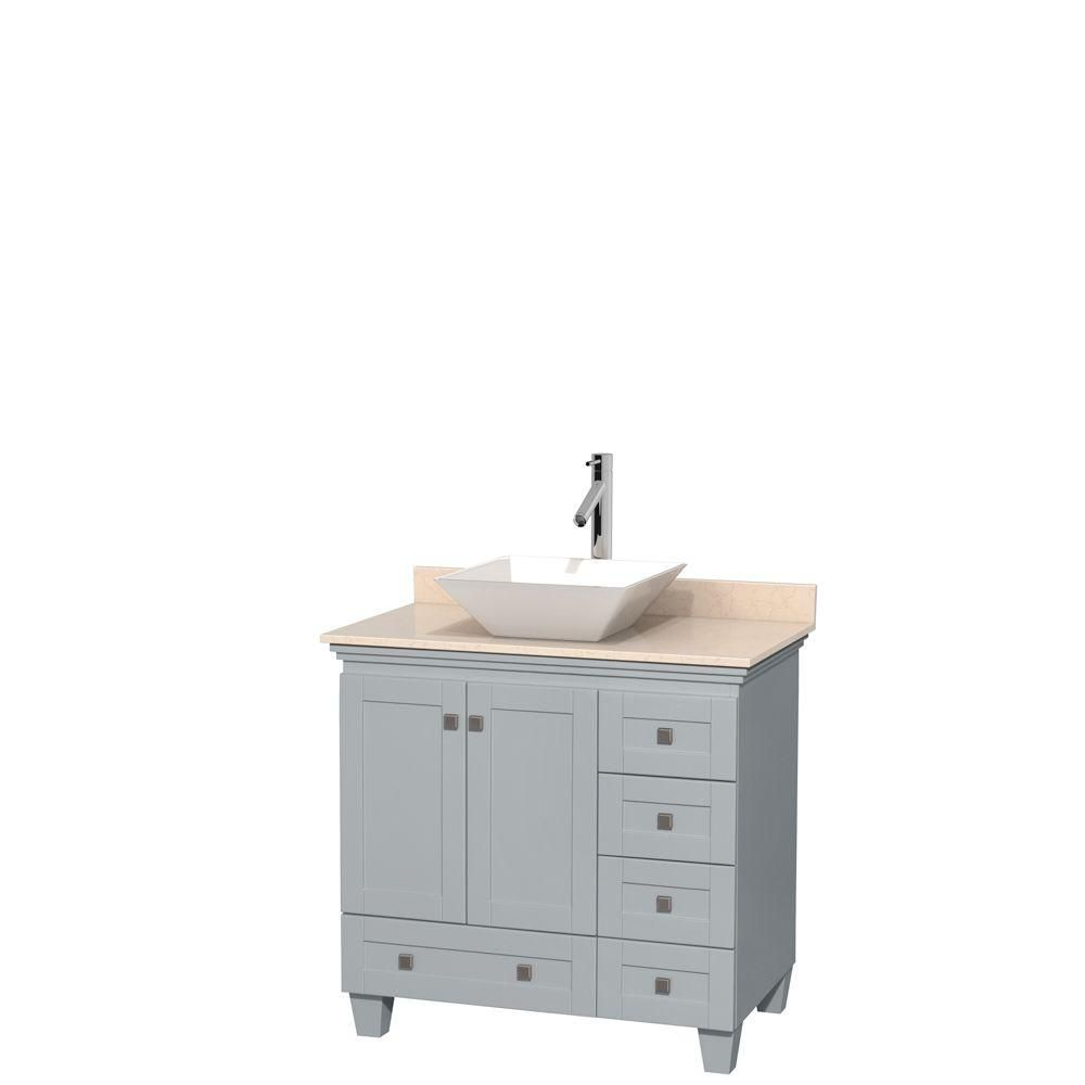 Acclaim 36-inch W Vanity in Oyster Grey with Marble Top and White Porcelain Sink