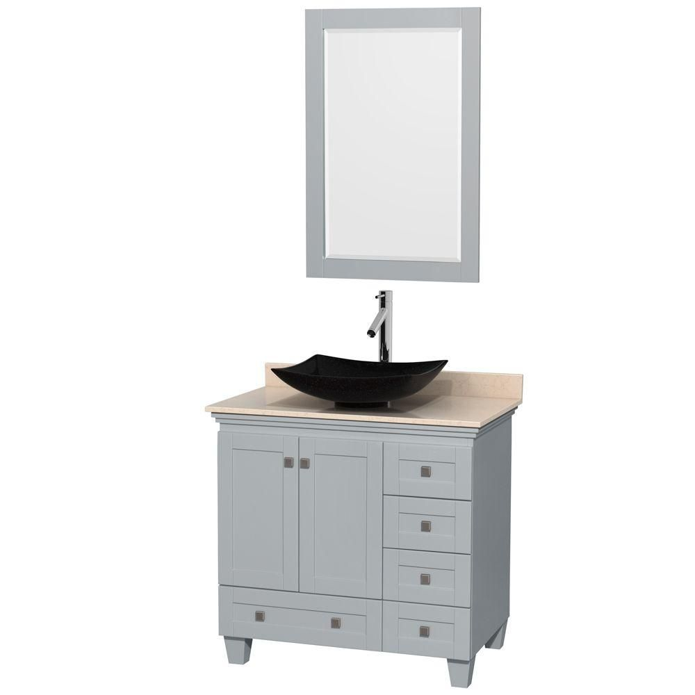 Acclaim 36-inch W Vanity in Oyster Grey with Marble Top, Granite Sink and Mirror