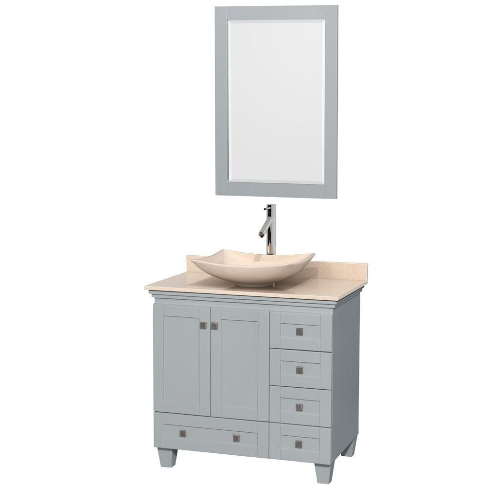 Acclaim 36-inch W Vanity in Oyster Grey with Marble Top, Marble Sink and Mirror