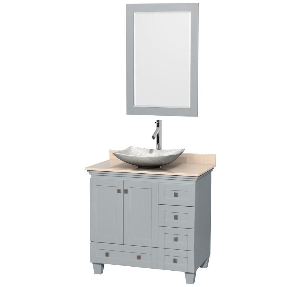 Acclaim 36-inch W Vanity in Oyster Grey with Marble Top, Carrara Sink and Mirror