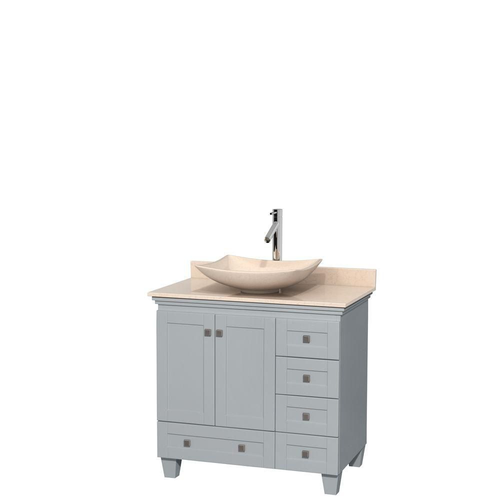 Acclaim 36-inch W Vanity in Oyster Grey with Marble Top and Ivory Marble Sink