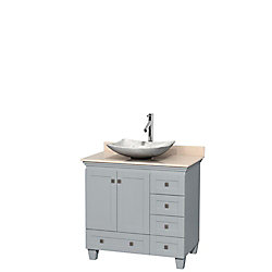 Wyndham Collection Acclaim 36-inch W 5-Drawer 2-Door Freestanding Vanity With Marble Top in Beige Tan