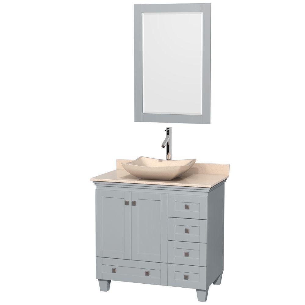"""Meuble s. bains simple Acclaim 36"""" gris huître, compt marbre ivoire, év. marbre ivoire, mir 24"""""""