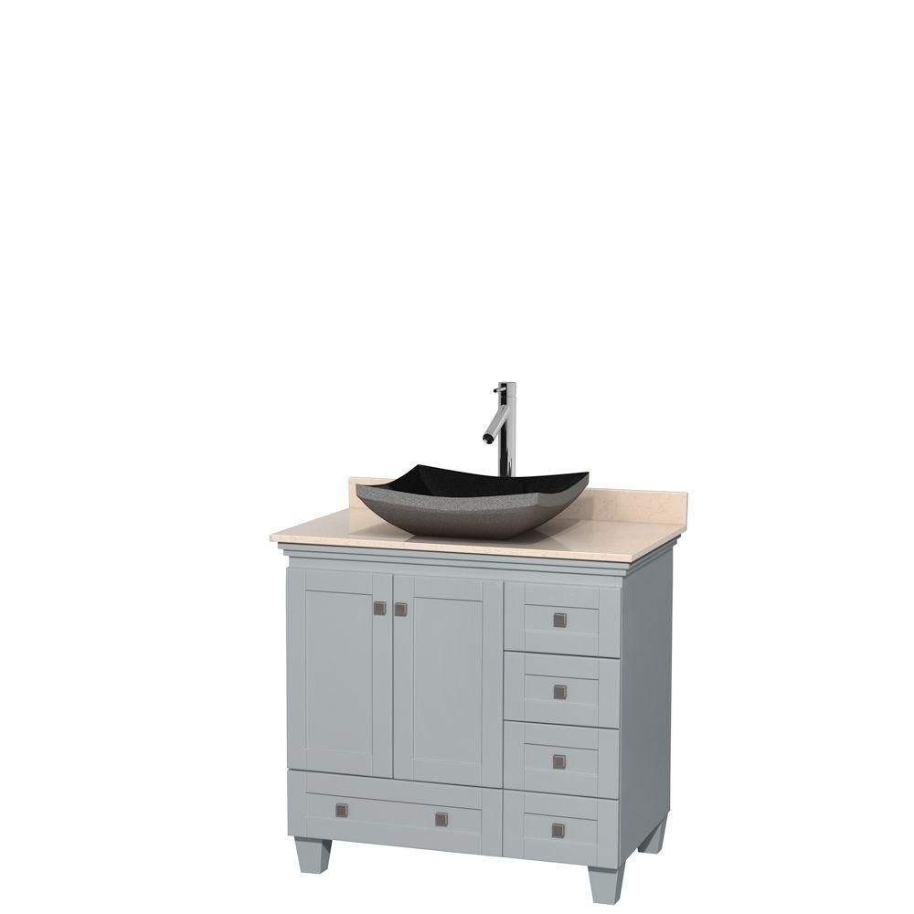 Acclaim 36-inch W Vanity in Oyster Grey with Marble Top and Black Granite Sink