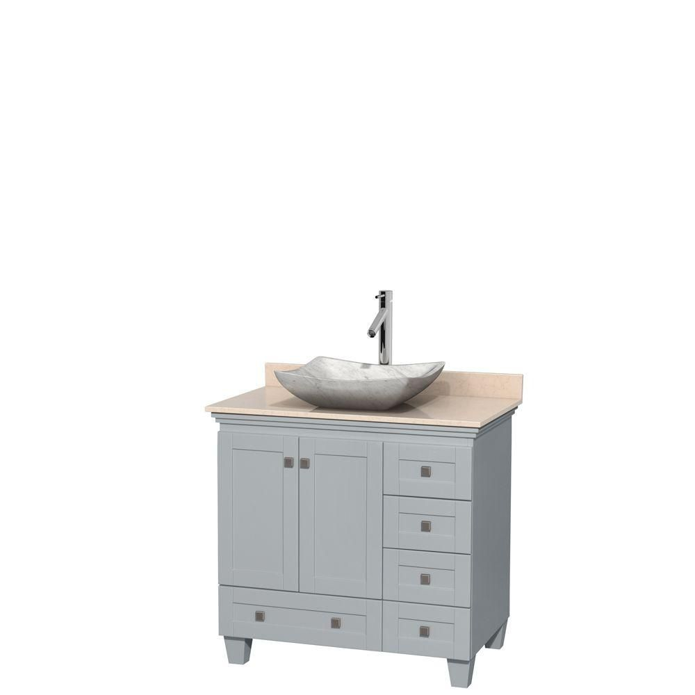 "Meuble s. bains simple Acclaim 36"" gris huître, compt marbre ivoire, év. Carrare blc, sans mir"