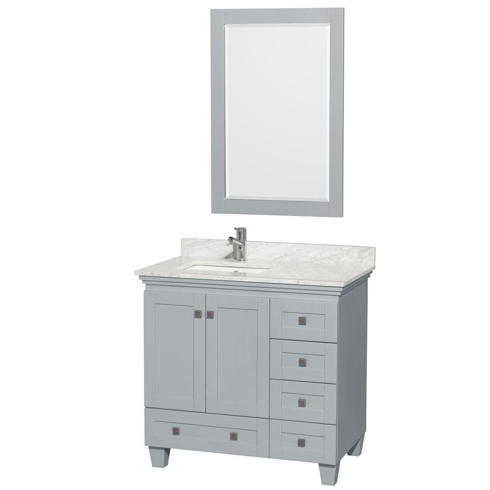 """Meuble s. bains simple Acclaim 36"""" gris huître, comptoir marbre Carrera blanc, év. carré, miroir ..."""