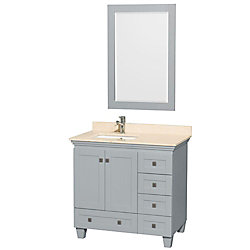 Wyndham Collection Acclaim 36-inch W 5-Drawer 2-Door Freestanding Vanity With Marble Top in Beige Tan With Mirror