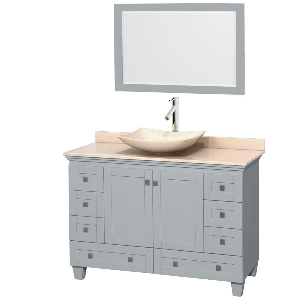 Acclaim 48-inch W Vanity in Oyster Grey with Marble Top, Marble Sink and Mirror