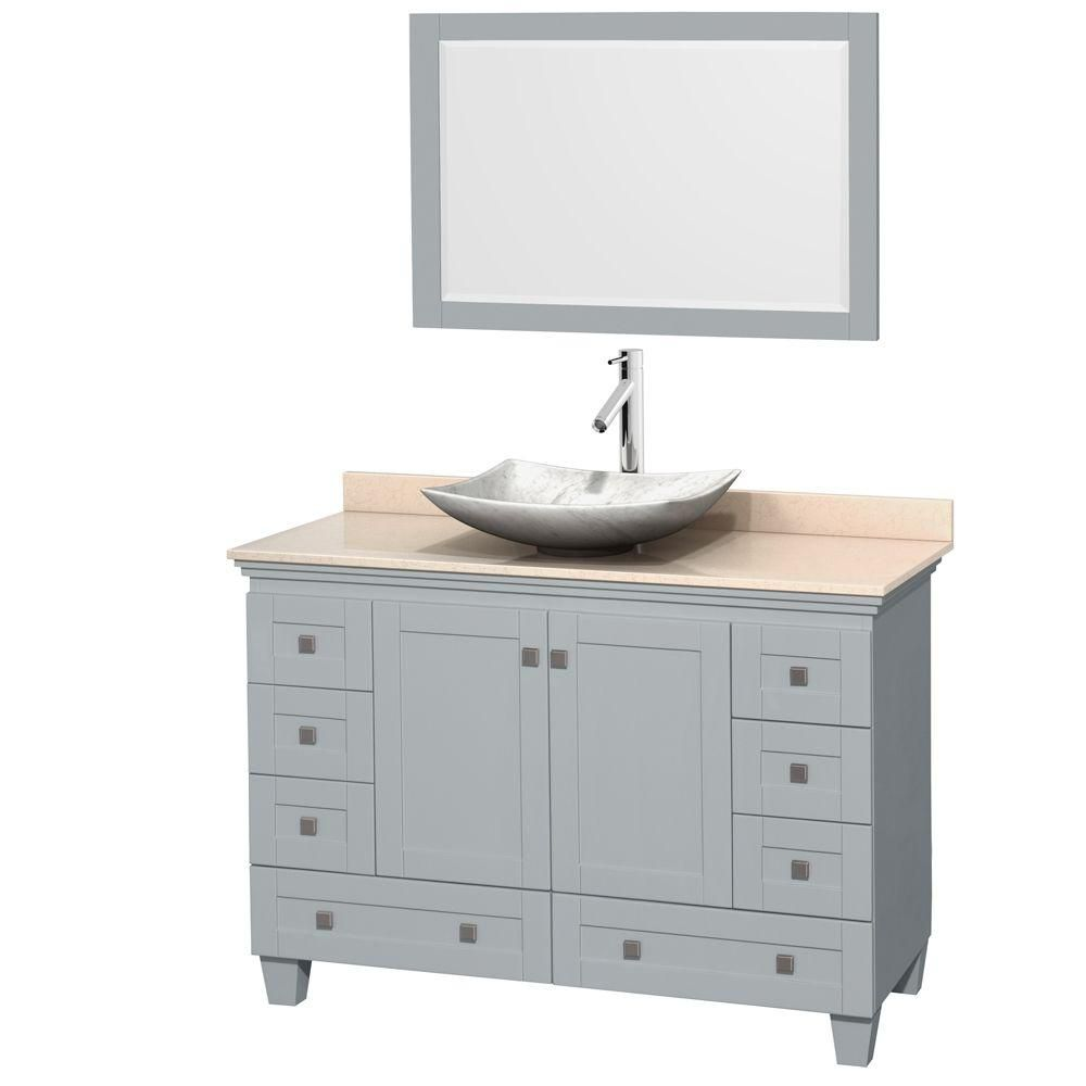 Acclaim 48-inch W Vanity in Oyster Grey with Marble Top, Carrara Sink and Mirror