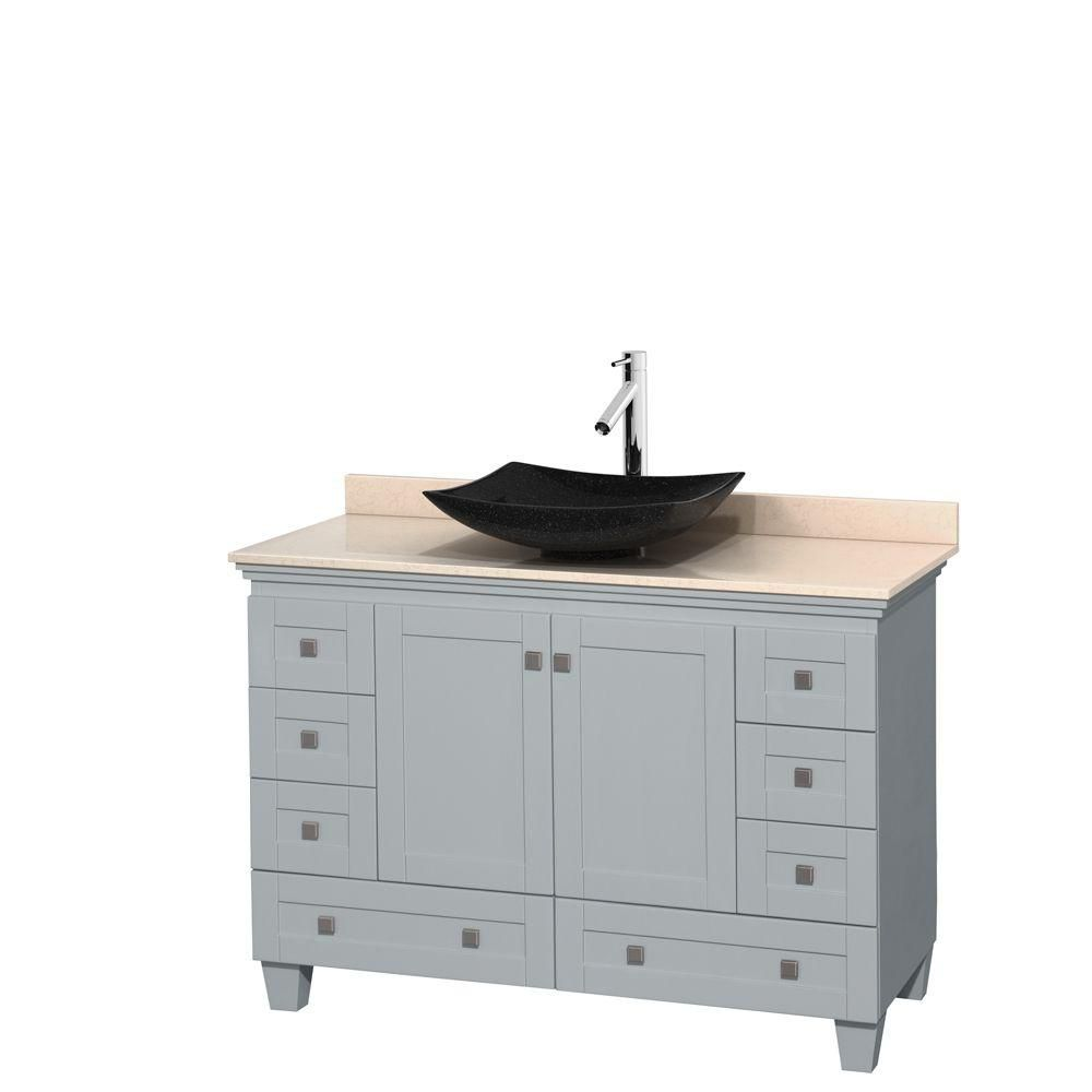Acclaim 48-inch W Vanity in Oyster Grey with Marble Top and Black Granite Sink