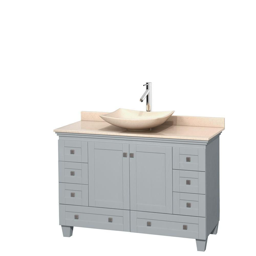 Acclaim 48-inch W Vanity in Oyster Grey with Marble Top and Ivory Marble Sink