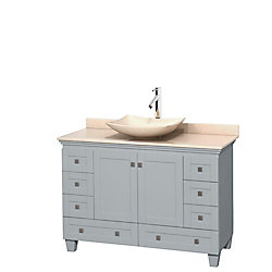 Wyndham Collection Acclaim 48-inch W 8-Drawer 2-Door Freestanding Vanity in Grey With Marble Top in Beige Tan