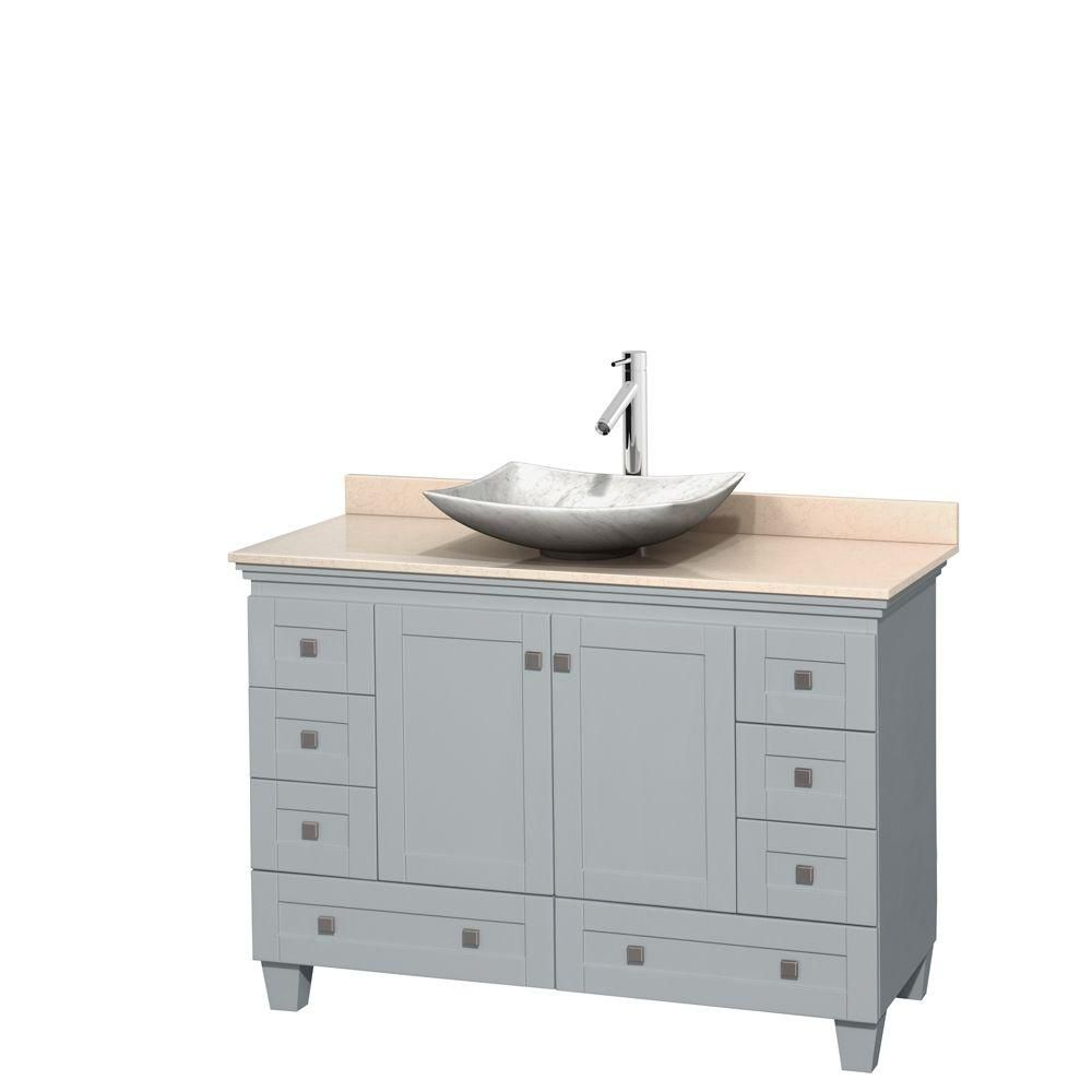 Acclaim 48-inch W Vanity in Oyster Grey with Marble Top and Carrara White Sink