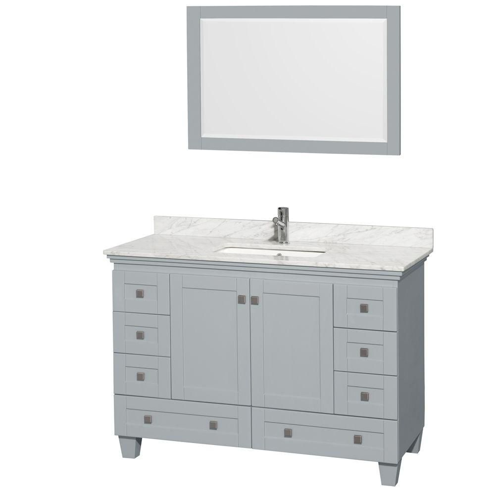 Acclaim 48-inch W Vanity in Oyster Grey with Carrara Top, Square Sink and Mirror