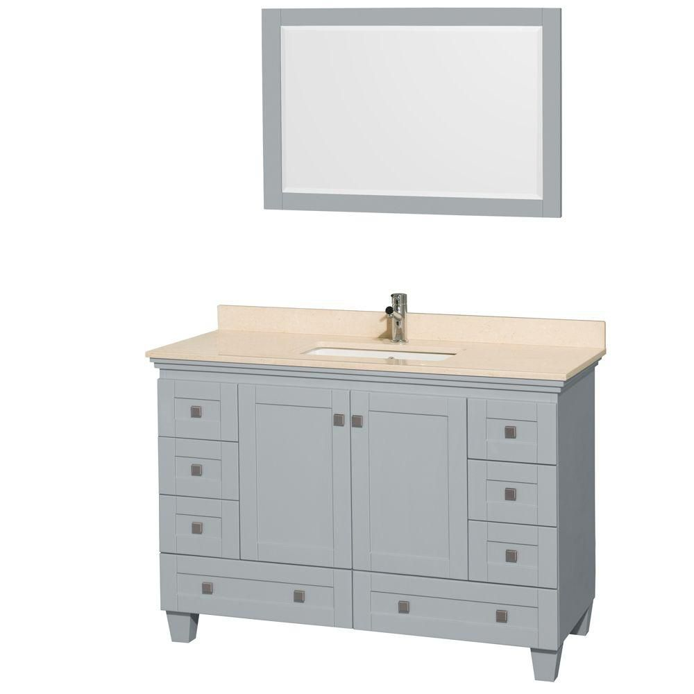 Acclaim 48-inch W Vanity in Oyster Grey with Marble Top, Square Sink and Mirror