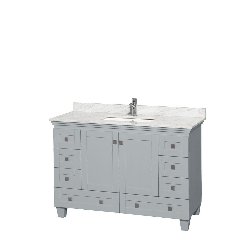 Acclaim 48-inch W Vanity in Oyster Grey with Carrara Top and Square Sink