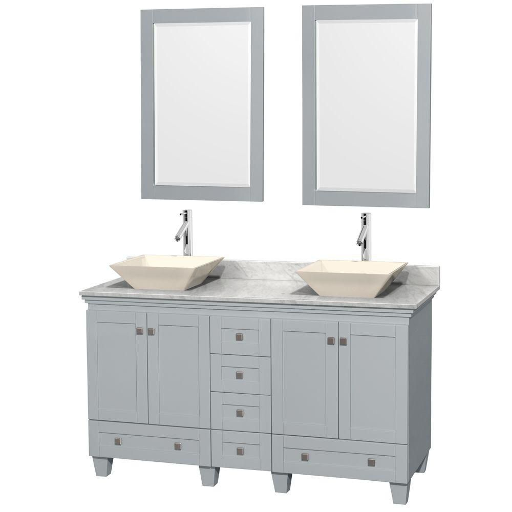 Acclaim 60-inch W Double Vanity in Oyster Grey with Carrara Top, Bone Porcelain Sinks and Mirrors