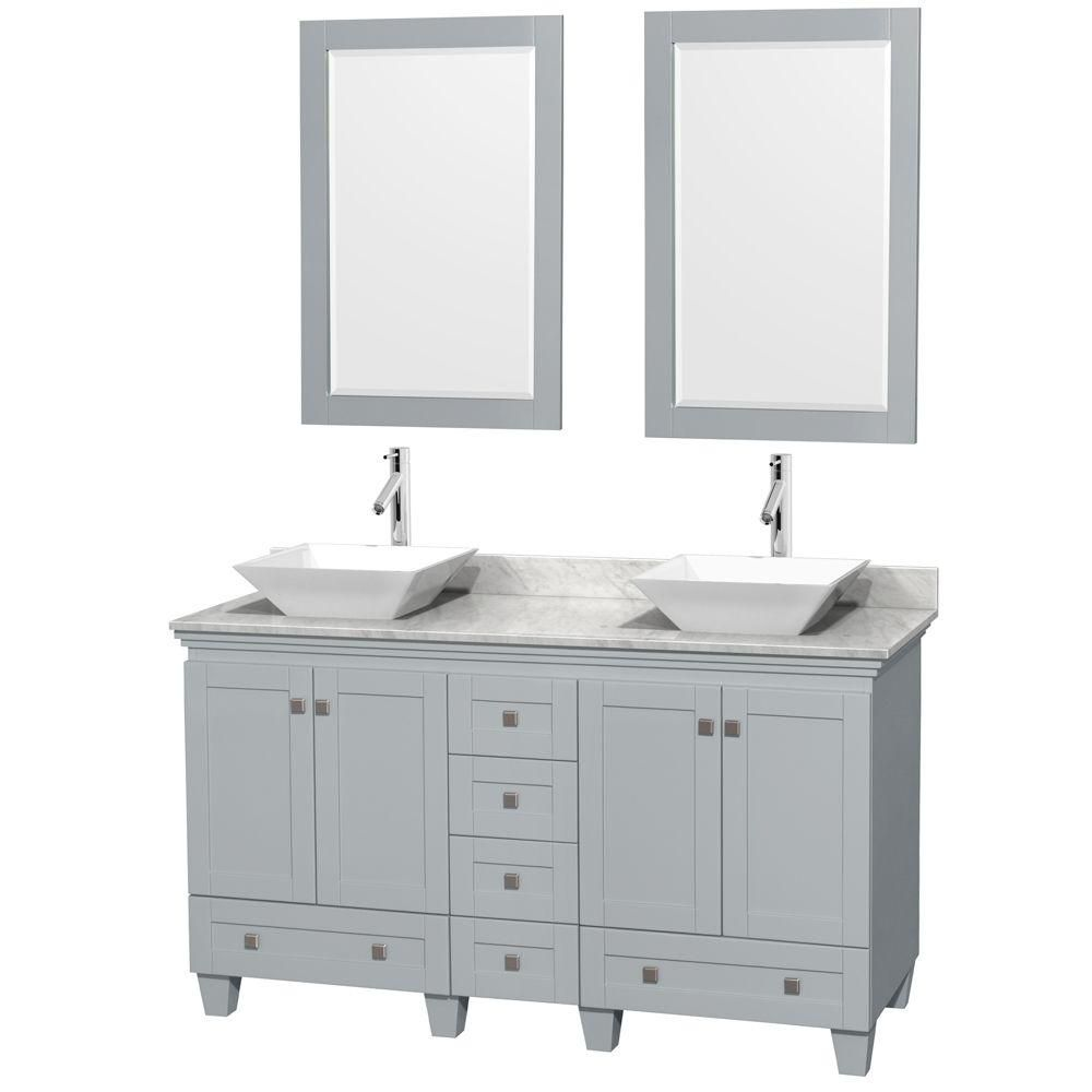 Acclaim 60-inch W Double Vanity in Oyster Grey with Carrara Top, White Porcelain Sinks and Mirror...