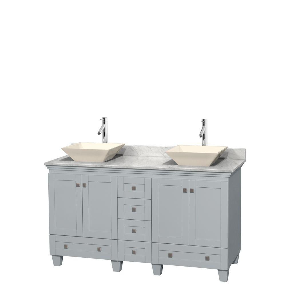 Acclaim 60-inch W Double Vanity in Oyster Grey with Carrara Top and Bone Porcelain Sinks