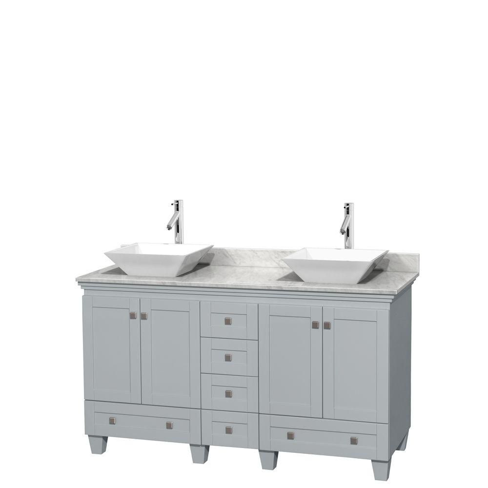 Acclaim 60-inch W Double Vanity in Oyster Grey with Carrara Top and White Porcelain Sinks