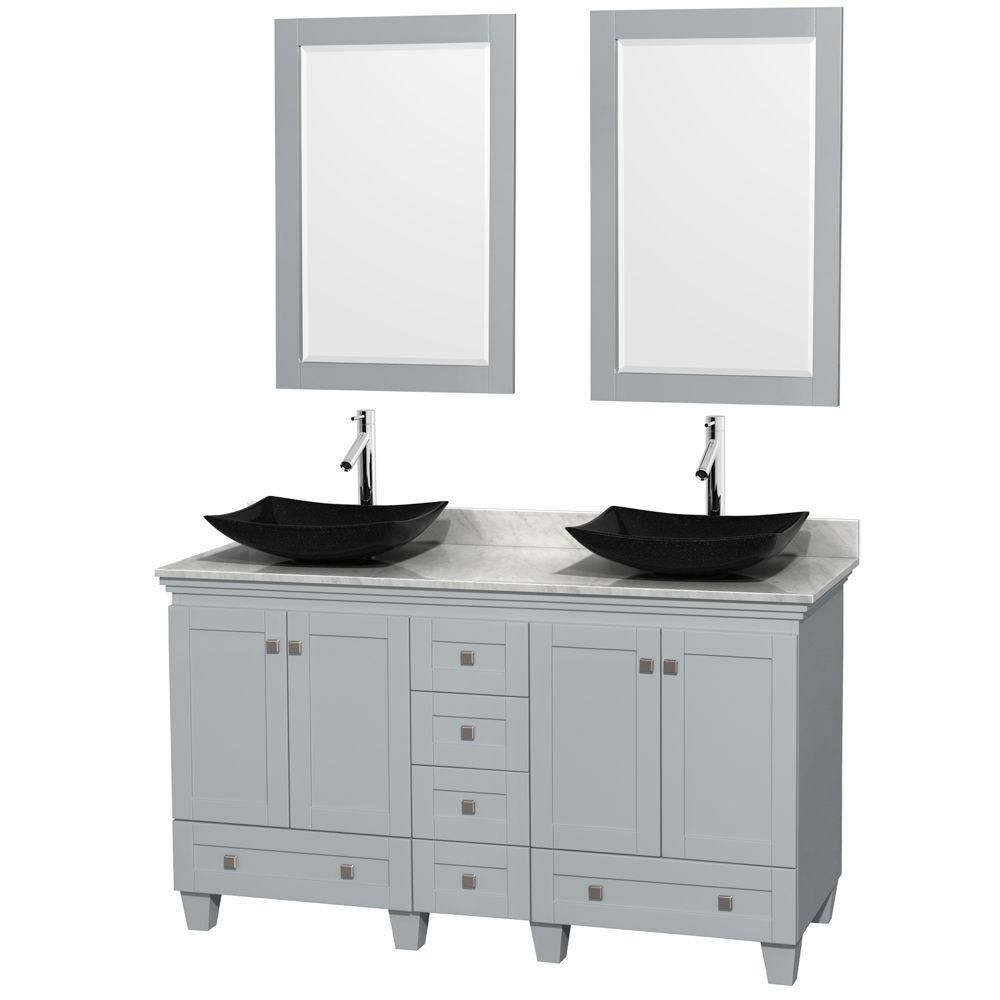 Acclaim 60-inch W Double Vanity in Oyster Grey with Carrara Top, Granite Sinks and Mirrors