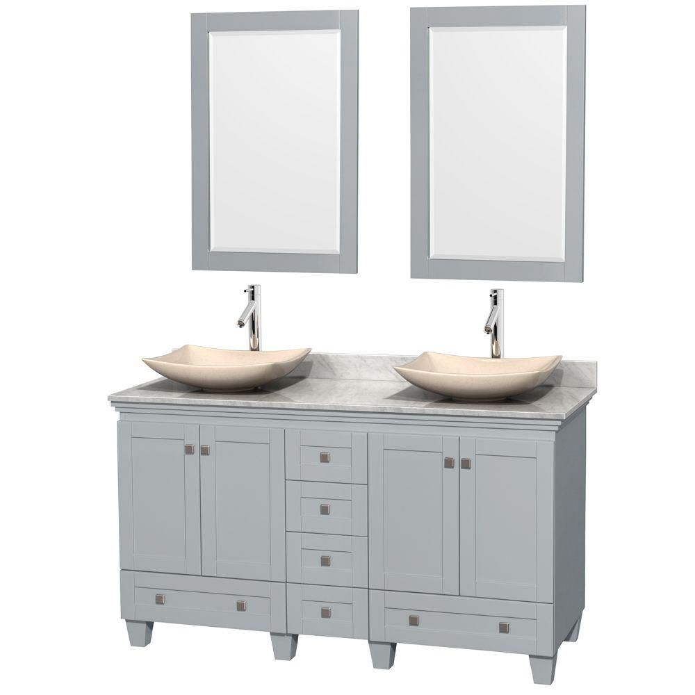 Acclaim 60-inch W Double Vanity in Oyster Grey with Carrara Top, Marble Sinks and Mirrors
