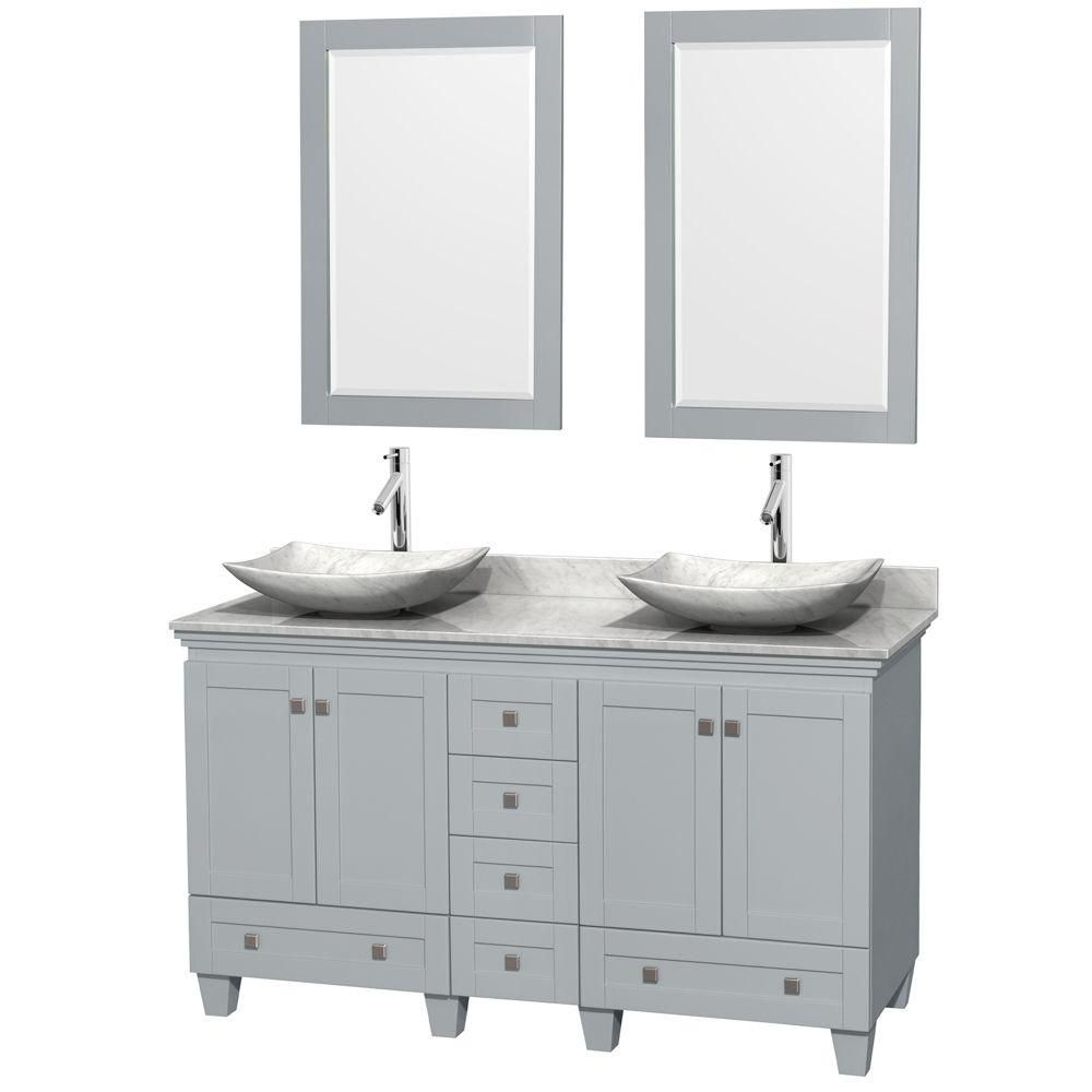 Acclaim 60-inch W Double Vanity in Oyster Grey with Carrara Top, Carrara Sinks and Mirrors